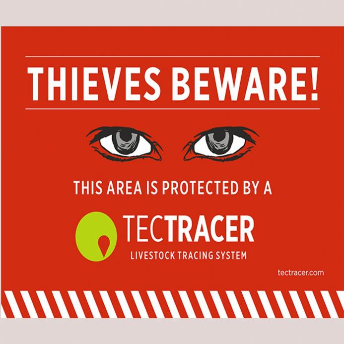 """Thieves Beware"" TecTRACER Warning Sign - Only available to TecTRACER users."
